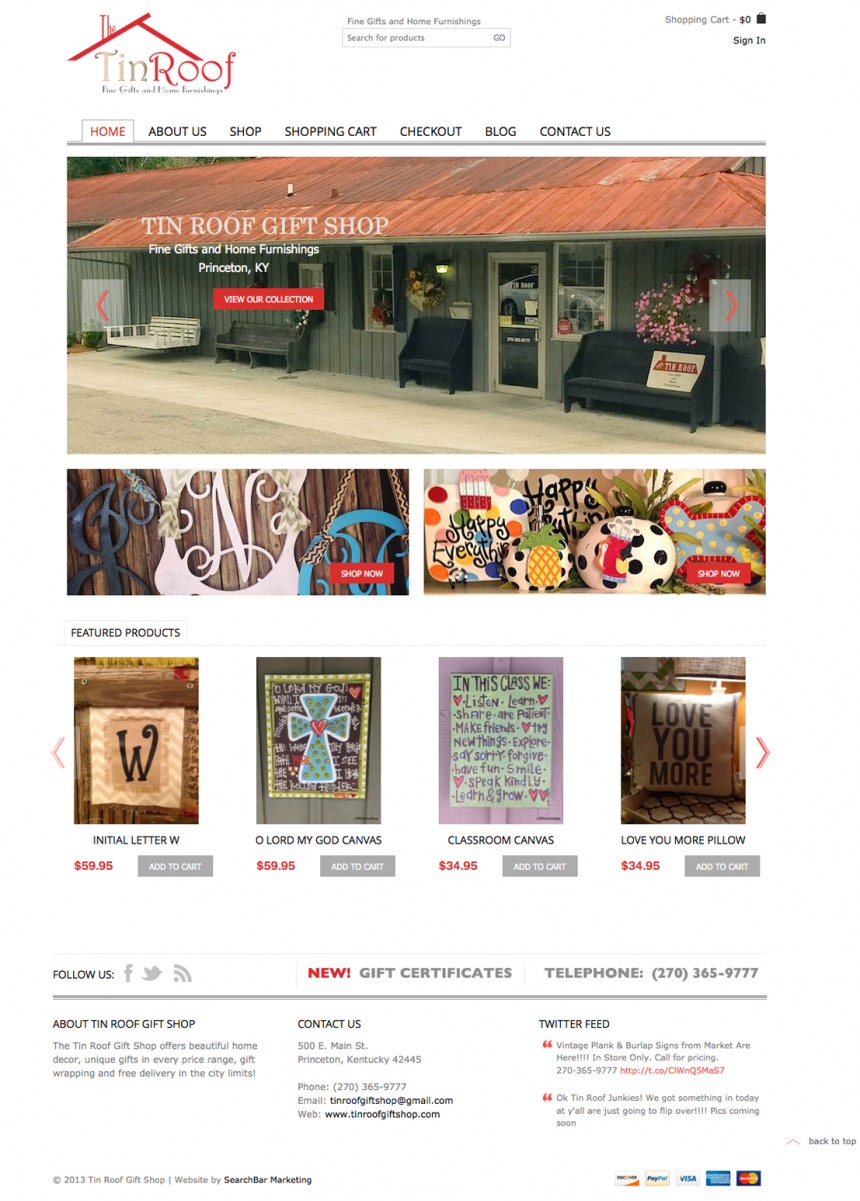 Tin Roof Gift Shop Website Design Project