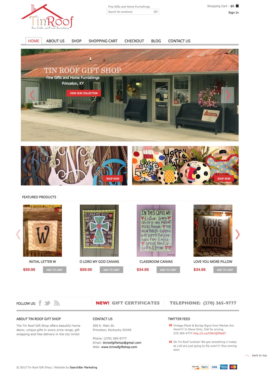 Tin Roof Gift Shop Website Design   SearchBar Marketing