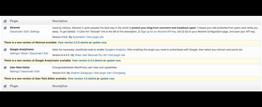 August 2013 WordPress Plugin Updates