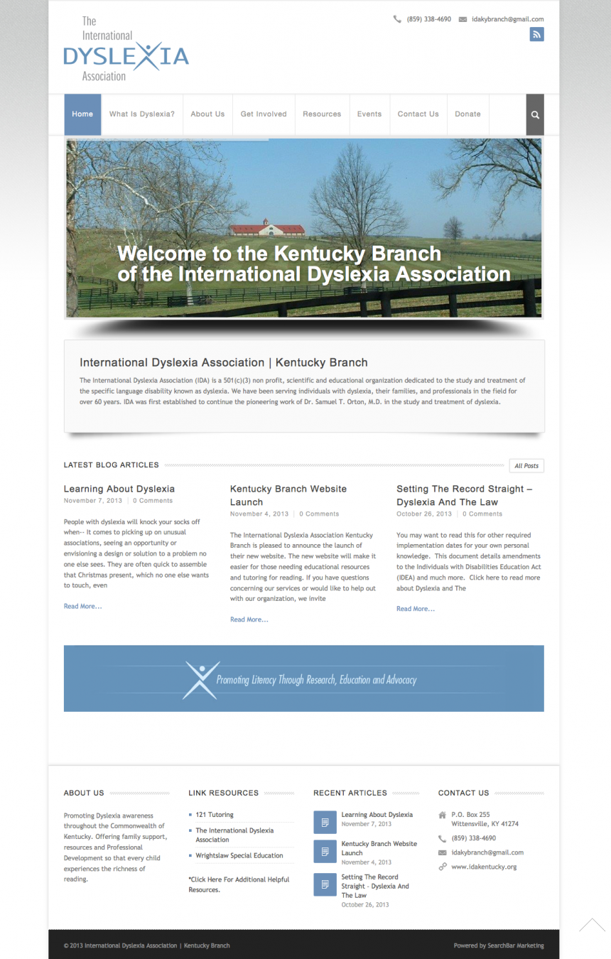 International Dyslexia Association Kentucky Branch Website Design
