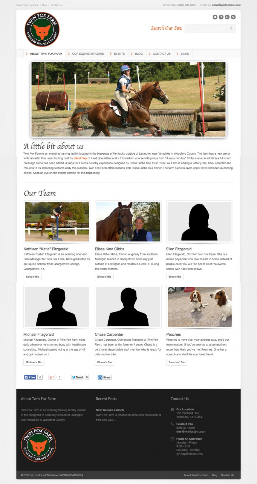 Twin Fox Farm Website Design