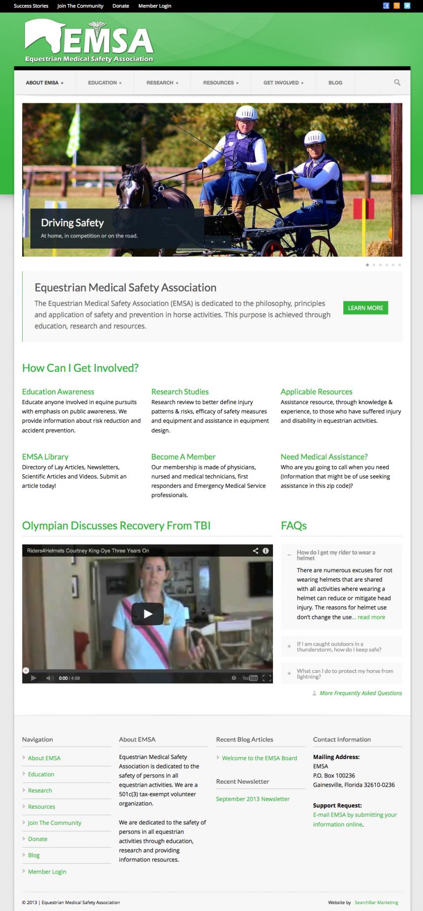 Equestrian Medical Safety Association Website Design