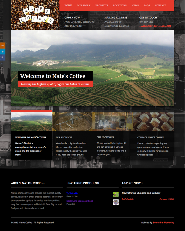 Nates Coffee Website Design