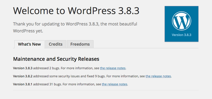 WordPress 3.8.3 Update