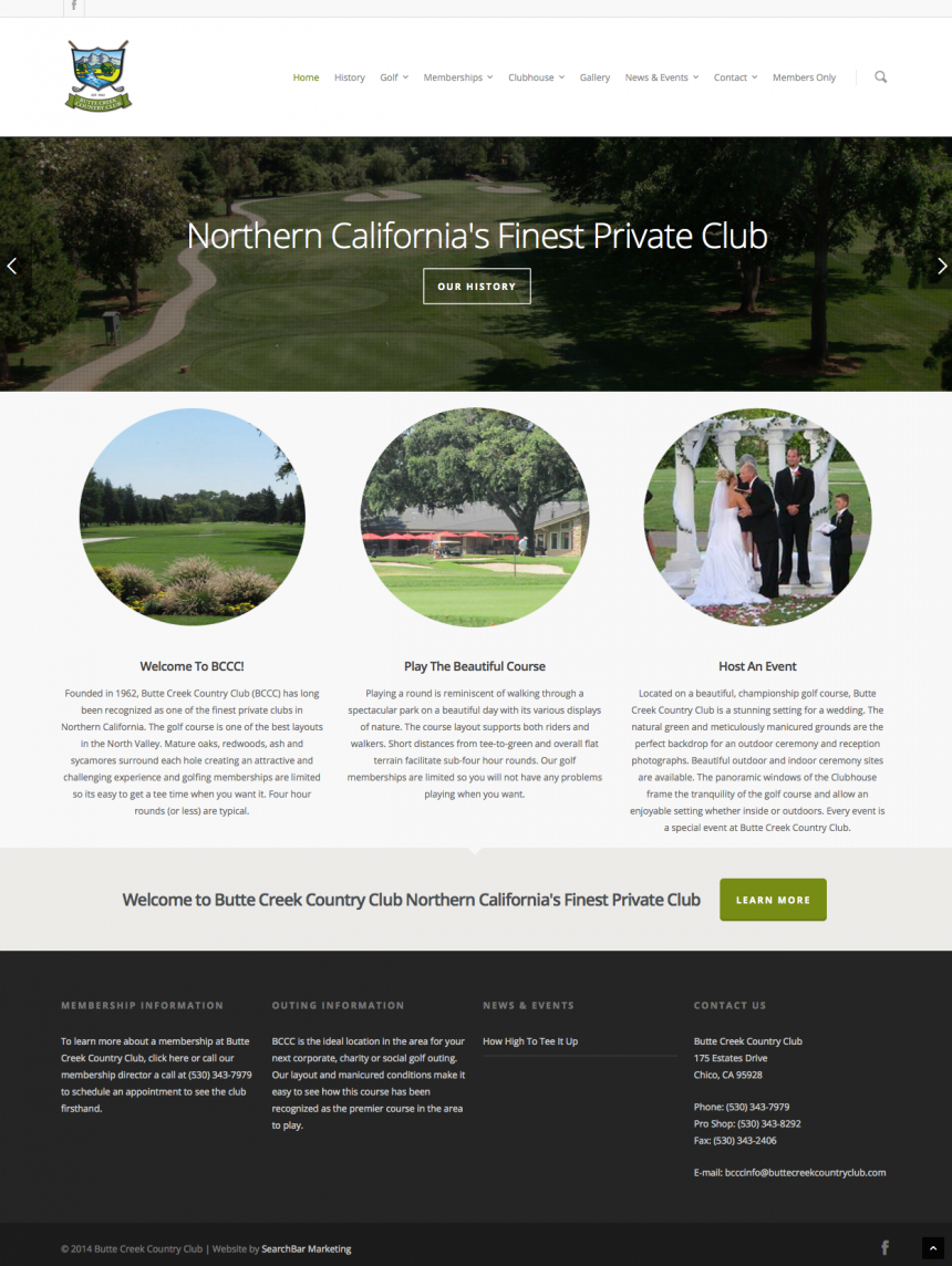 Butte Creek Country Club Website Design Project