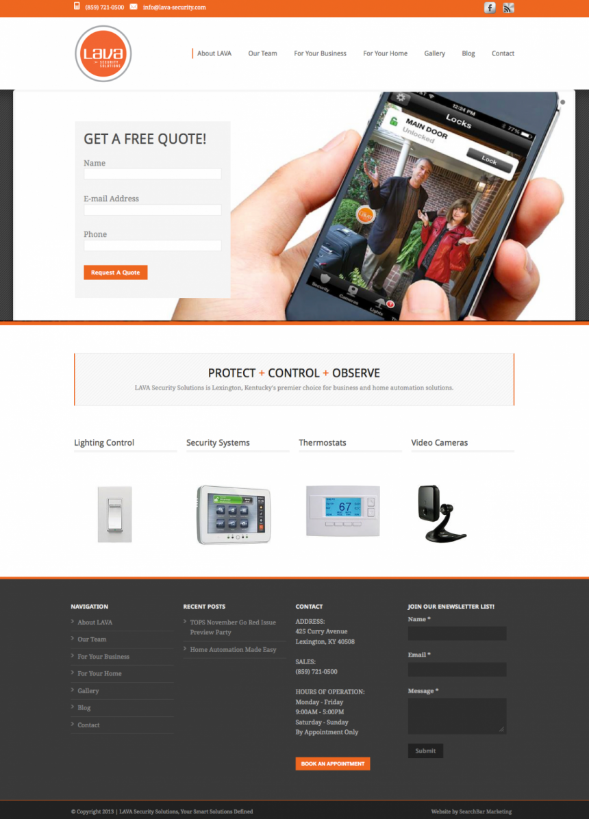 LAVA Security Solutions Website Design Project