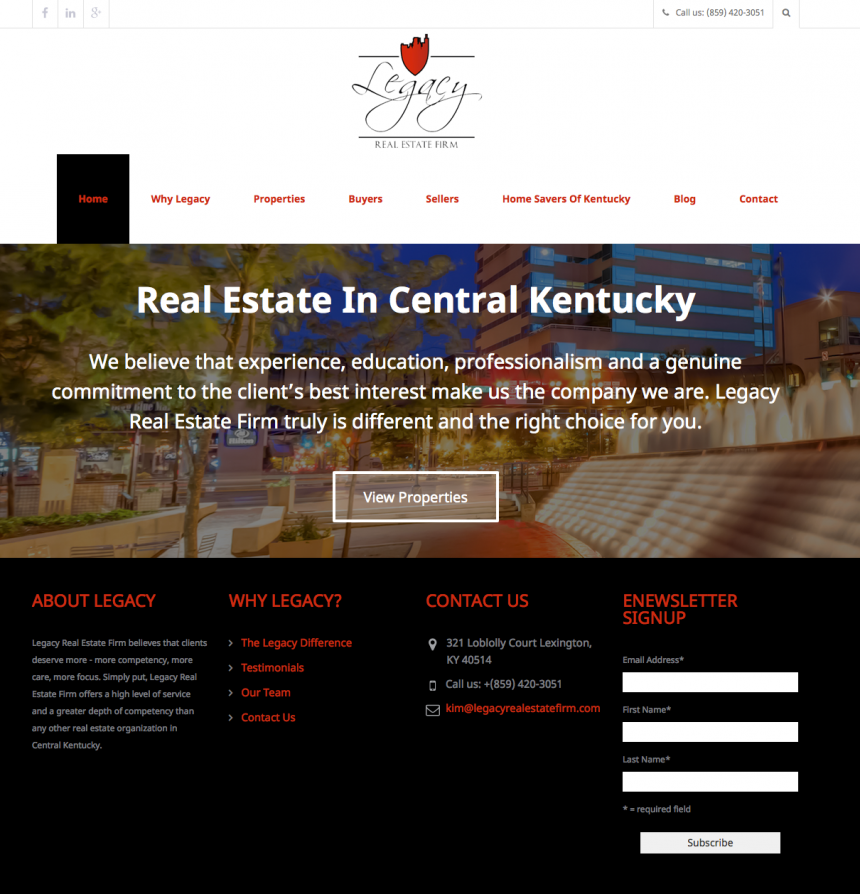 Legacy Real Estate Firm Website Design Project