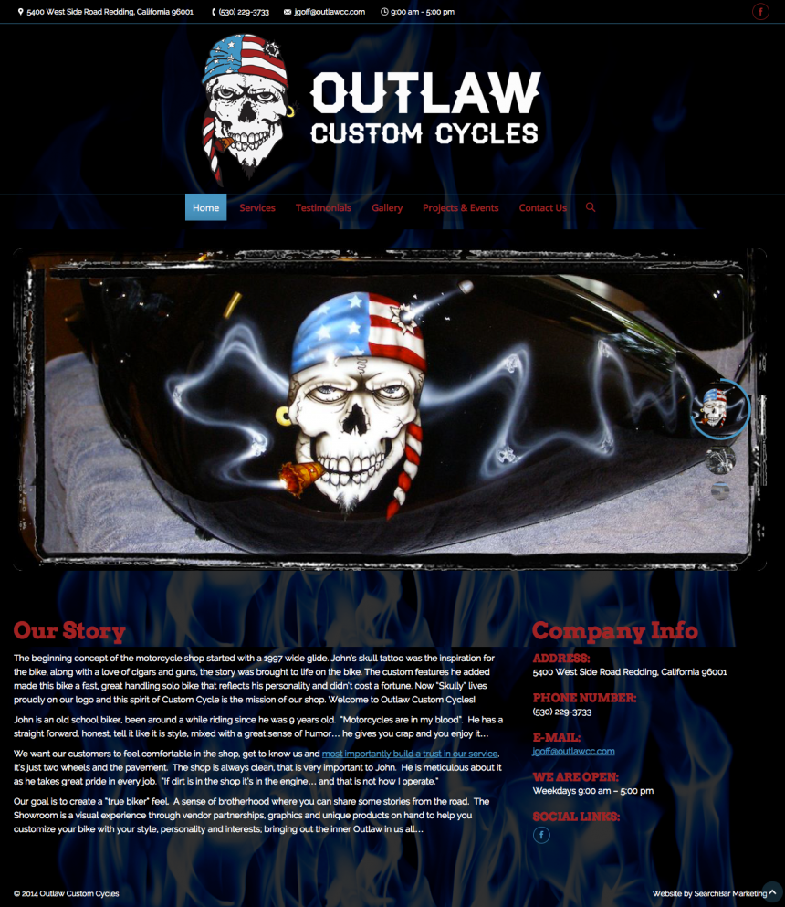 Outlaw Custom Cycles Website Design Project