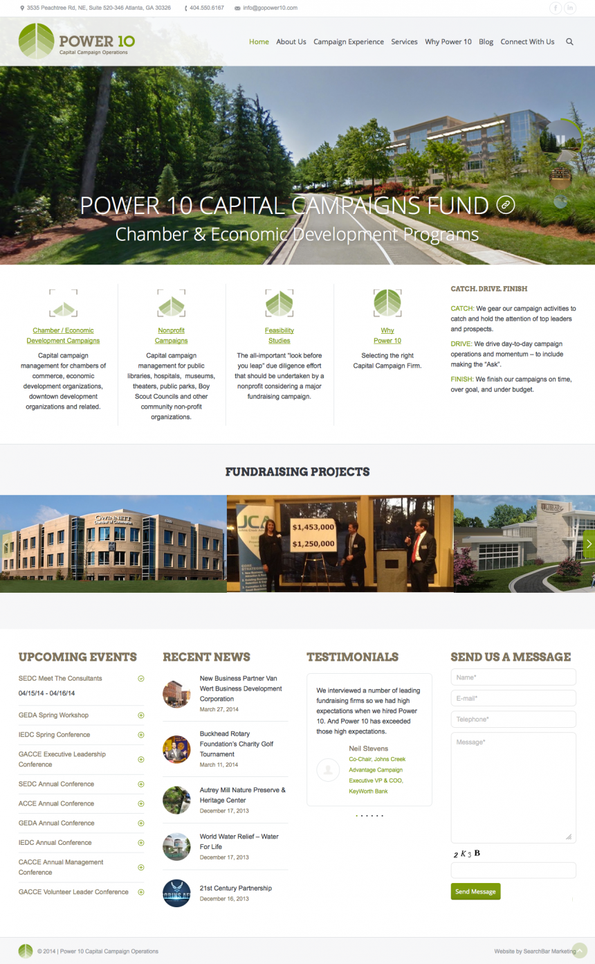 Power 10 Captial Campaign Operations Website Design Project