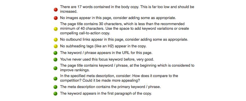 WordPress SEO by Yoast Page Analysis