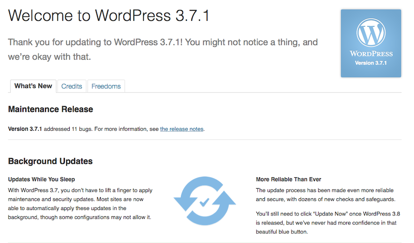 WordPress 3.7.1 Maintenance Release Update
