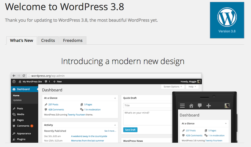 WordPress 3.8 Core Update
