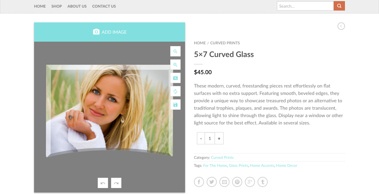 Cameo Glass Product Personalization